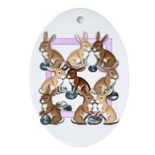 Bunnies And EasterEggs Ornament (Oval)