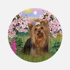 Blossoms/Yorkie #7 Ornament (Round)