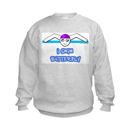 I Swim Butterfly Kids Sweatshirt