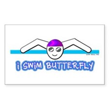 I Swim Butterfly Rectangle Decal