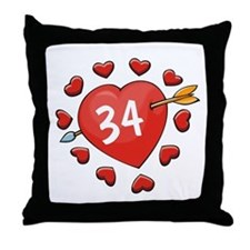 34th Valentine Throw Pillow