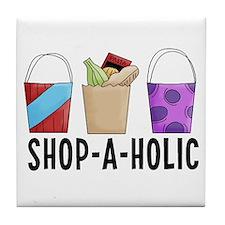 Shop-A-Holic (bags) Tile Coaster