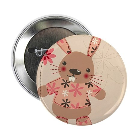"Cute Rabbit & Flowers 2.25"" Button (10 pack)"