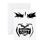 Evil Vampire Face Greeting Cards (Pk of 10)