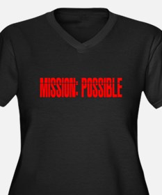 mission possible Women's Plus Size V-Neck Dark T-S