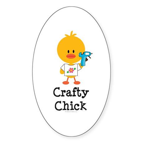 Crafty Chick Sticker (Oval)