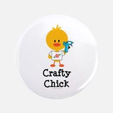 """Crafty Chick 3.5"""" Button (100 pack)"""