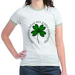 Four Leaf Clover (Gaelic) Jr. Ringer T-Shirt
