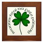 Four Leaf Clover (Gaelic) Framed Tile