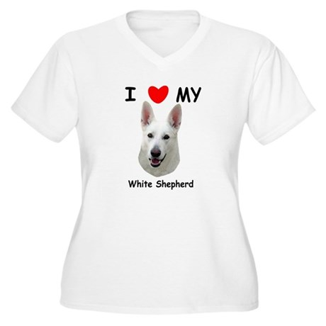 Love My White Shepherd Women's Plus Size V-Neck T-