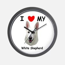 Love My White Shepherd Wall Clock