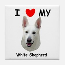 Love My White Shepherd Tile Coaster