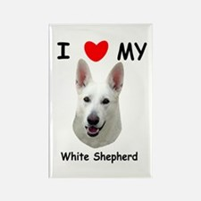Love My White Shepherd Rectangle Magnet