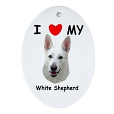 Love My White Shepherd Ornament (Oval)