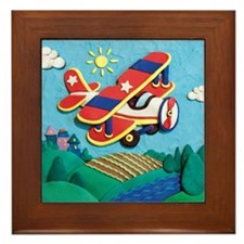 Biplane Aircraft Framed Tile