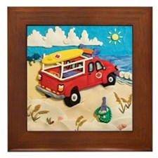 Beach Patrol Rescue Framed Tile