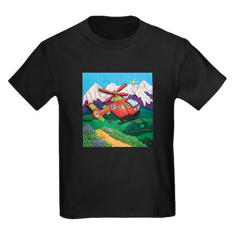 Rescue Helicopter Kids Dark T-Shirt