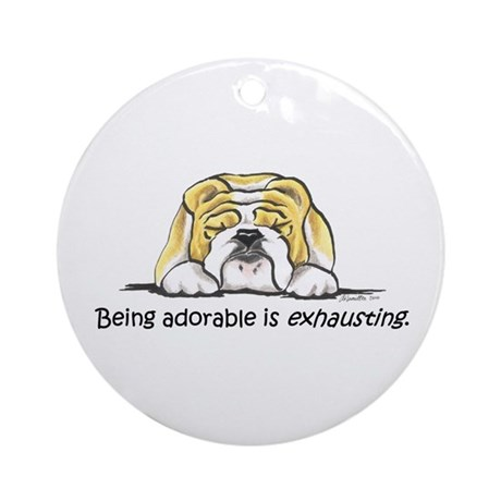 Adorable Bulldog Ornament (Round)