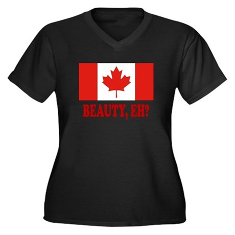 Beauty, eh? Women's Plus Size V-Neck Dark T-Shirt