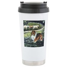 Sable Sheltie with Sheep Travel Mug