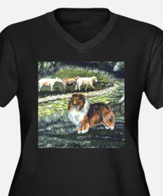 Sable Sheltie with Sheep Women's Plus Size V-Neck