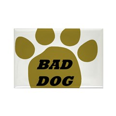 Bad Dog black in paw Rectangle Magnet