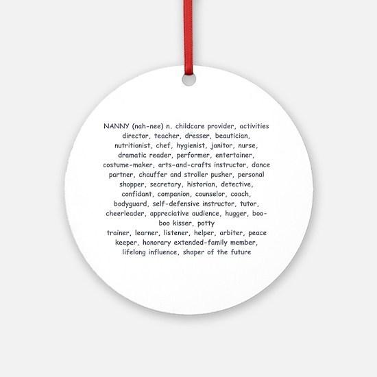 Defination Of A Nanny Ornament (Round)