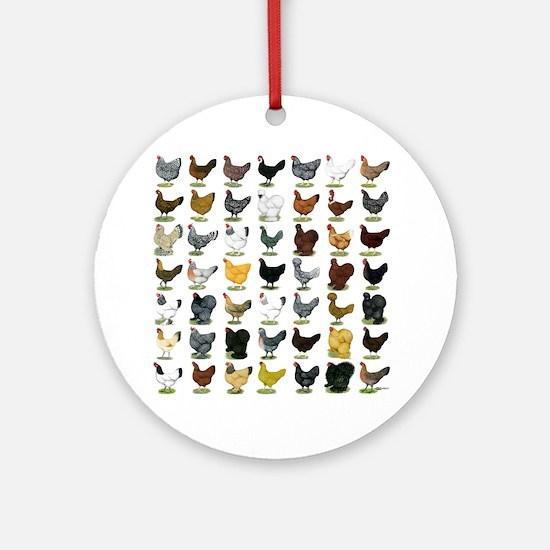 49 Hen Breeds Ornament (Round)