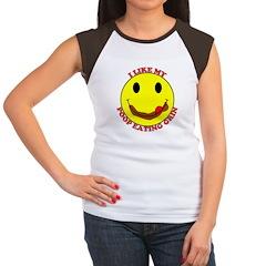 Poop Eating Smiley Face Women's Cap Sleeve T-Shirt