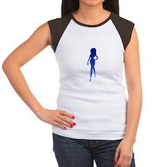 Sexy Woman Blue Women's Cap Sleeve T-Shirt