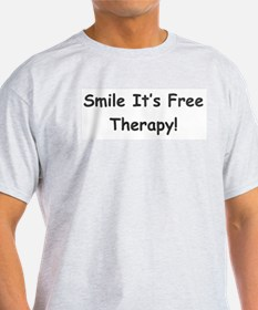 Smile It's Free Therapy! Ash Grey T-Shirt