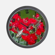 Hummers and roses Wall Clock