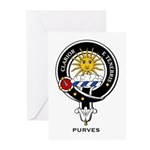 Purves Clan Crest / Badge Greeting Cards (Package