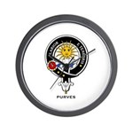 Purves Clan Crest / Badge Wall Clock