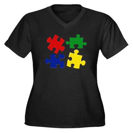 Puzzle Pieces Women's Plus Size V-Neck Dark T-Shir