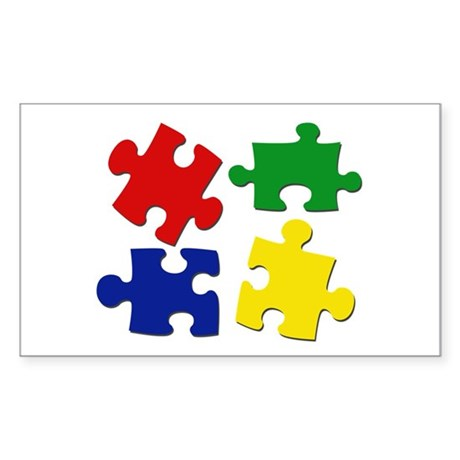Puzzle Pieces Sticker (Rectangle)