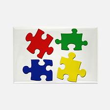 Puzzle Pieces Rectangle Magnet