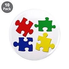 """Puzzle Pieces 3.5"""" Button (10 pack)"""