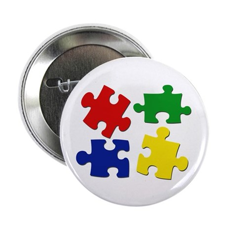 "Puzzle Pieces 2.25"" Button"