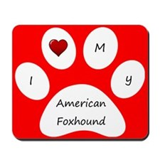 Red I Love My American Foxhound Mouse Pad
