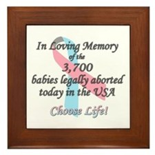 Pro Life Ribbon Anti-Abortion Framed Tile