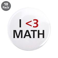 """I <3 Math 3.5"""" Button (10 pack)"""