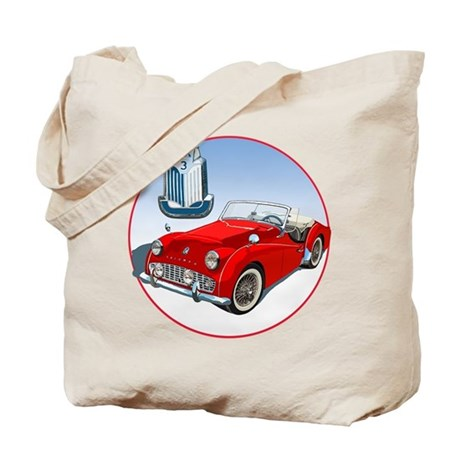 The red TR3 Tote Bag