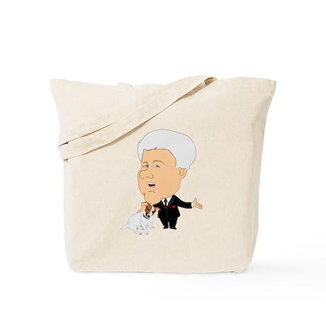 Clinton Petting A Jack Russel Tote Bag
