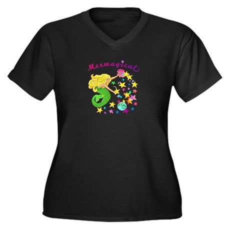 Mermagical Women's Plus Size V-Neck Dark T-Shirt