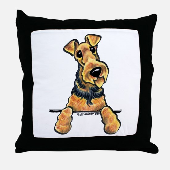 Welsh Terrier Paws Up Throw Pillow