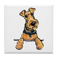 Welsh Terrier Paws Up Tile Coaster