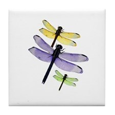 Colorful Dragonflies Art Tile