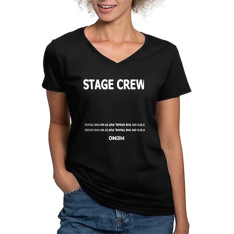 Stage Crew Memo Women's V-Neck Dark T-Shirt