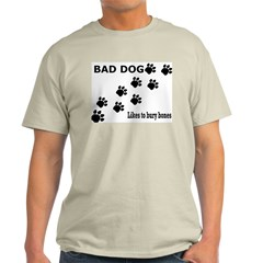 Bad Dog Paws bury bones Ash Grey T-Shirt